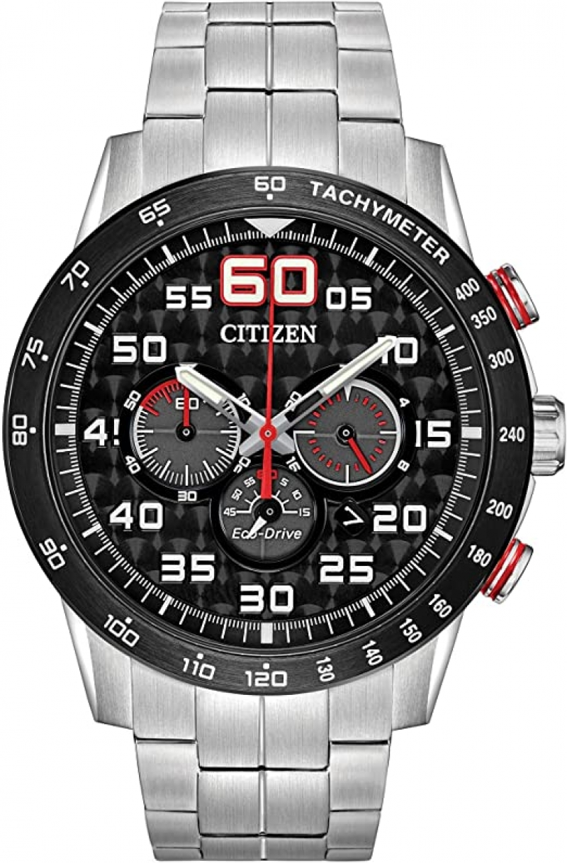 ihocon: Citizen Eco-Drive Weekender Chronograph Mens Watch, Stainless Steel, Silver-Tone (Model: CA4431-50E)星辰光動能男錶