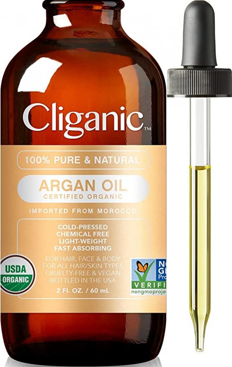 ihocon: Cliganic Organic Argan Oil, 100% Pure   for Hair, Face & Skin   Cold Pressed 冷壓有機摩洛哥堅果油