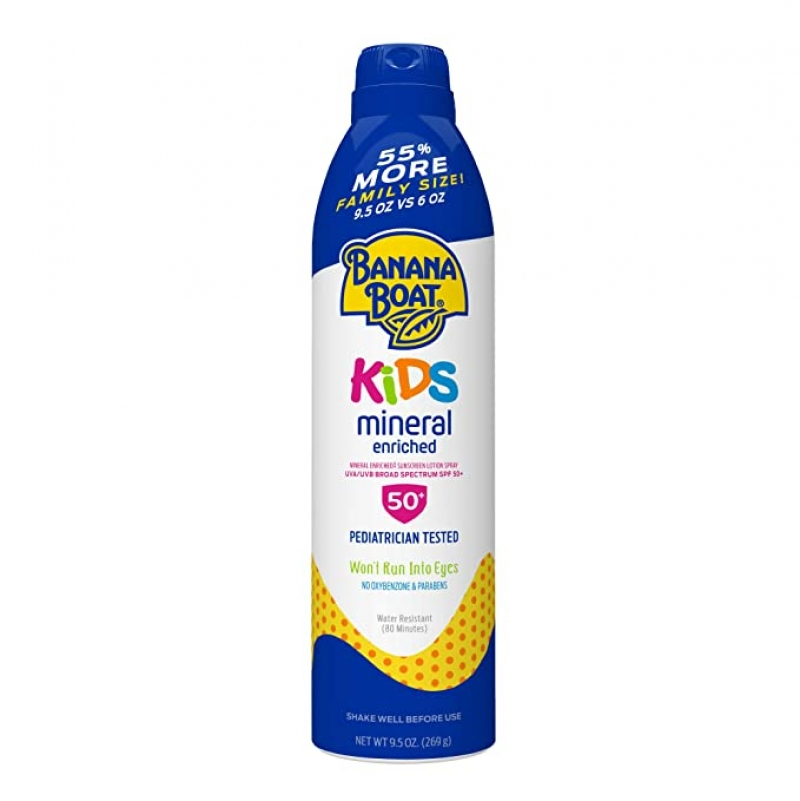 ihocon: Banana Boat Simply Protect Tear Free, Reef Friendly Sunscreen Lotion Spray for Kids, Broad Spectrum SPF 50, 9.5 Ounces 兒童防曬噴霧