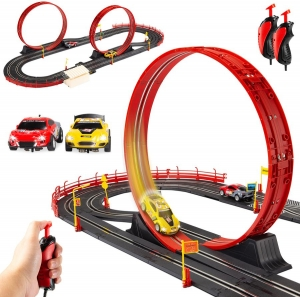 ihocon: Best Choice Products Electric Slot Car Race Track Set Kids Toy w/ 2 Cars, 2 Controllers 電動賽車, 含軌道, 2輛賽車及2個控制器