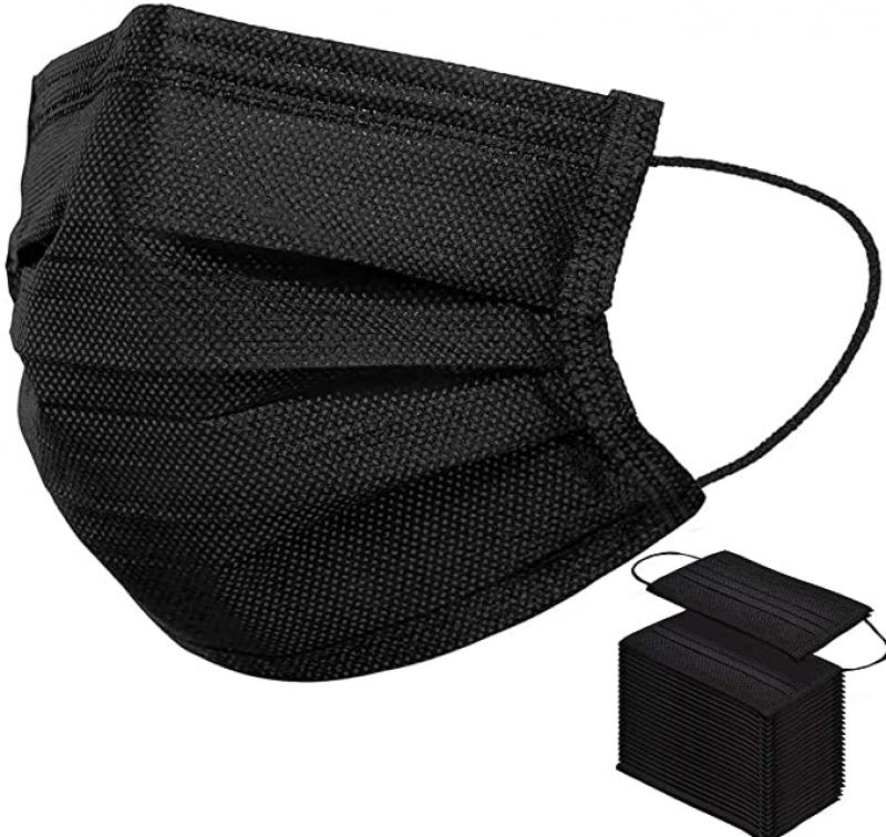 ihocon: PLAY X Disposable Face Masks 50 PCS 3Ply 黑色 一次性口罩 50個