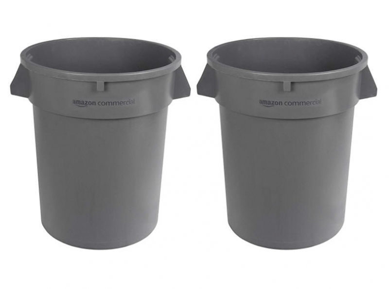 ihocon: AmazonCommercial 32 Gallon Heavy Duty Round Trash/Garbage Can, Grey, 2-pack  垃圾桶