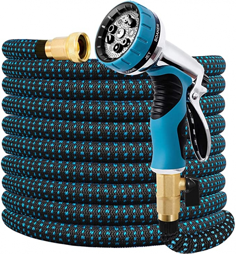 ihocon: Double Couple Expandable Garden Hose 75 FT Water Hose with 9 Function Nozzle and Durable 3-Layers Latex伸縮澆花水管, 含噴水頭