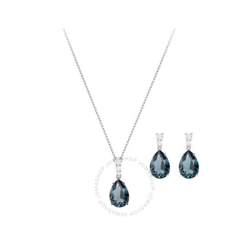 ihocon: Swarovski Rhodium Plated Vintage Non Precious Alloy Crystal Jewellery Set 施華洛世奇水晶首飾套裝(項鍊+耳環)