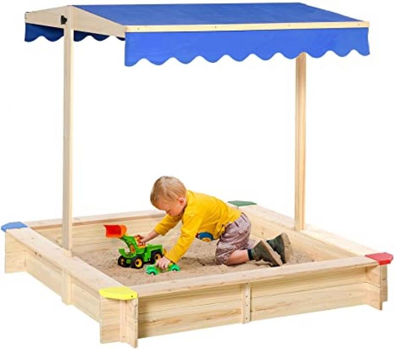 ihocon: Outsunny Wooden Sandbox w/ Adjustable Canopy, 47 L x 47 W x 47 H, 木製玩沙箱, 含遮陽篷