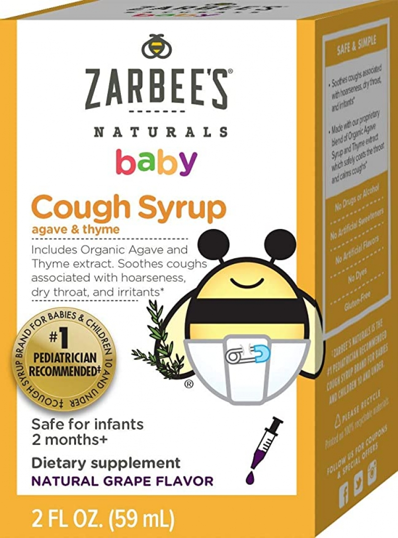 ihocon: Zarbee's Naturals Baby Cough Syrup with Agave & Thyme, Natural Grape Flavor, 2 Ounce Bottle 嬰兒天然止咳糖漿