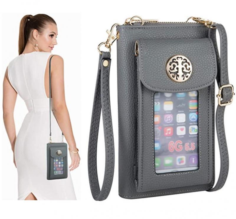 ihocon: K.A Women Wristlet Wallet with Phone Holder Handbag Crossbody Bag CellPhone Purse 女士手機斜背包/手腕包