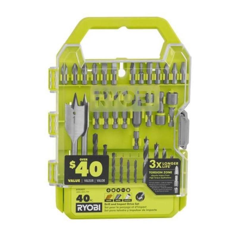 ihocon: RYOBI Drill and Impact Drive Kit (40-Piece)  鑽頭和螺絲起子頭