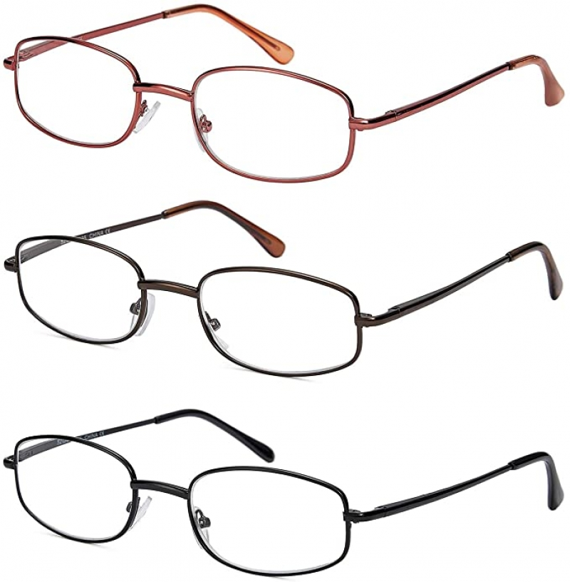 ihocon: Looklife Reading Glasses Classic Thin Metal Frame Readers for Men and Women with Spring Hinges老花眼鏡