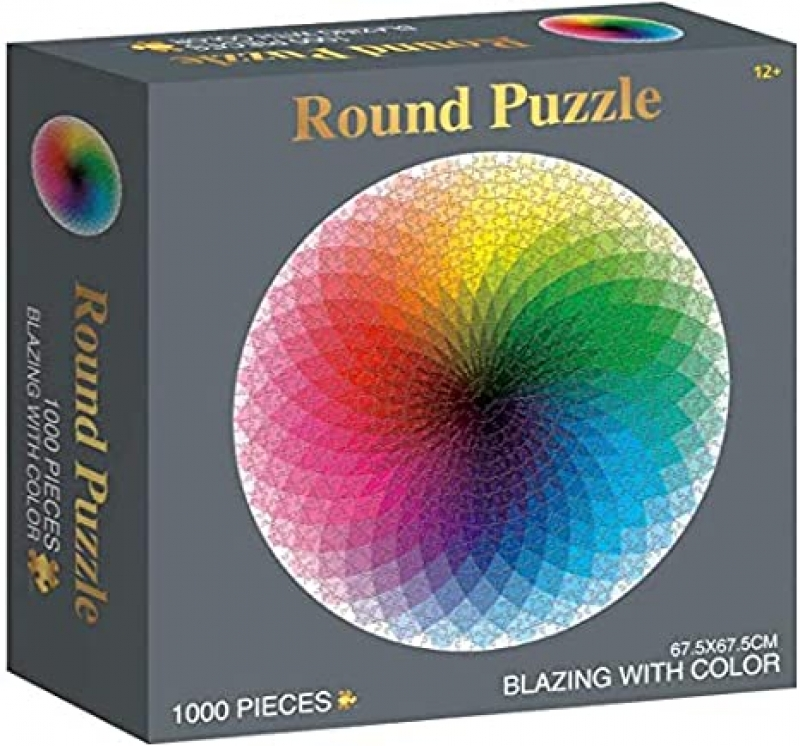 ihocon: Mailin 1000 Pieces Round Jigsaw Puzzle for Adults 彩虹圓形拼圖