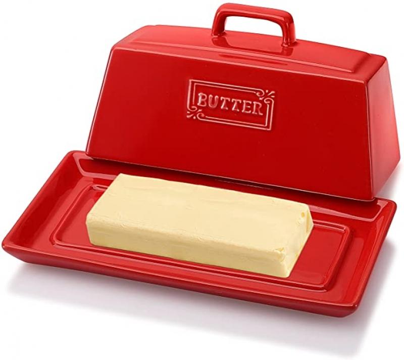 ihocon: AVLA Porcelain Butter Dish with Lid, 7.6 Inch 含蓋奶油儲放盤
