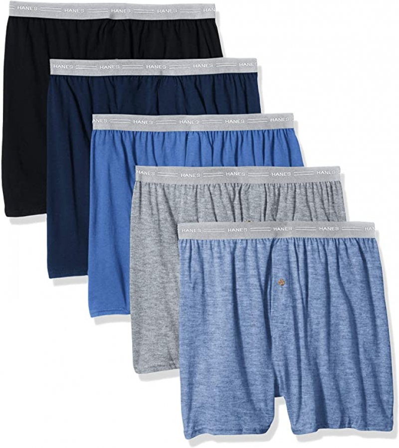 ihocon: Hanes Men's 5-Pack Exposed Waistband Knit Boxers  男士平角內褲 5件
