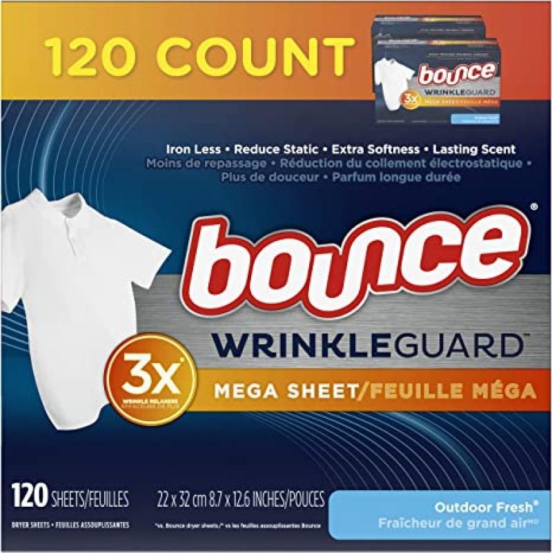 Bounce WrinkleGuard 衣物柔軟防皺烘衣紙 120張 $6.25(原價$12.99)