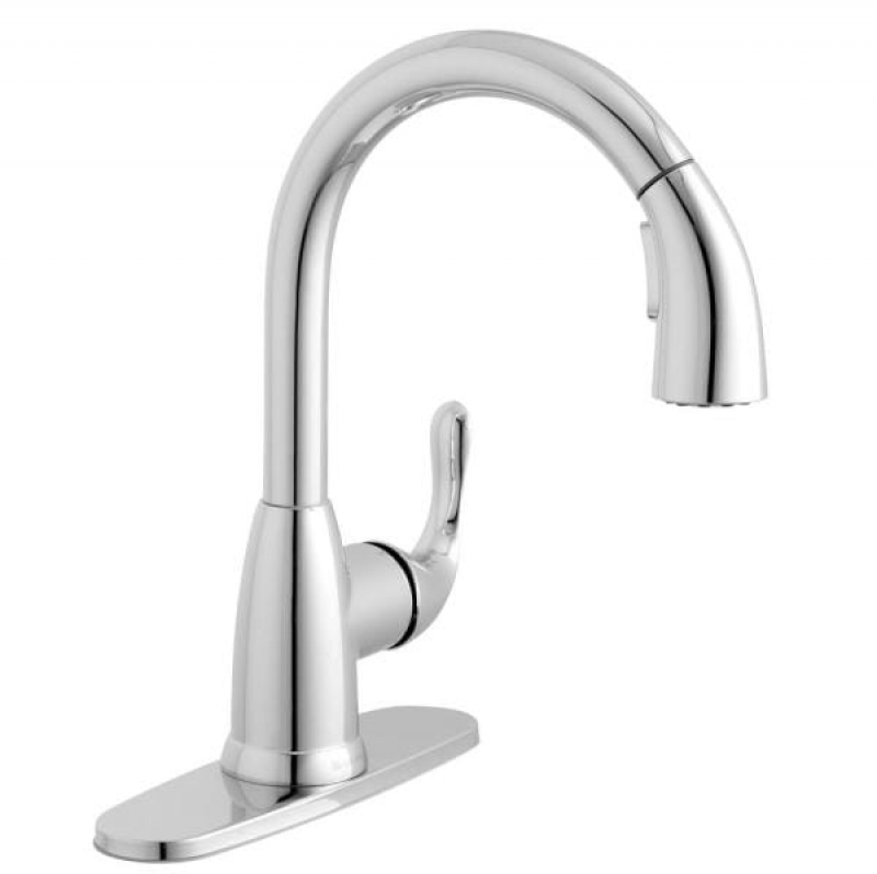 ihocon: Glacier Bay Dylan Single-Handle Pull-Down Kitchen Faucet with TurboSpray and FastMount in Chrome  廚房水龍頭