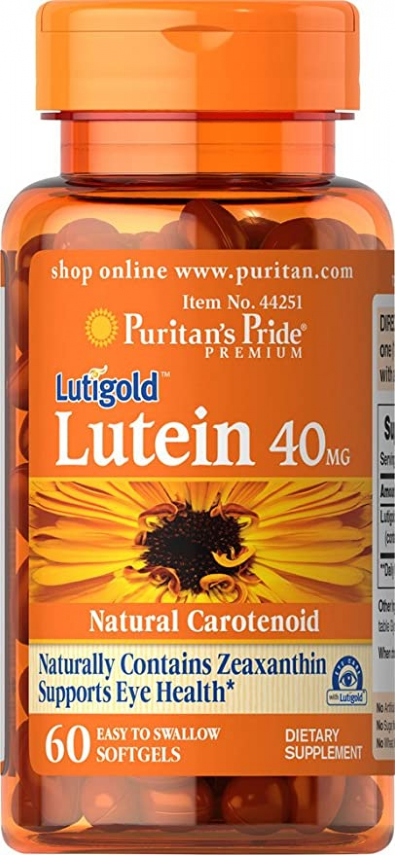 ihocon: Puritans Pride Lutein 40 Mg with Zeaxanthin,60 Softgels, 60 Count   葉黃素