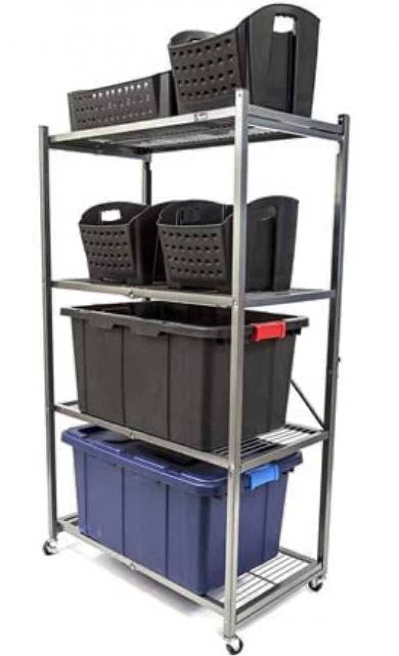 ihocon: Origami 4-Tier Foldable Metal Shelf, Heavy Duty (Refurbished翻新品) 四層有輪可折疊金屬架