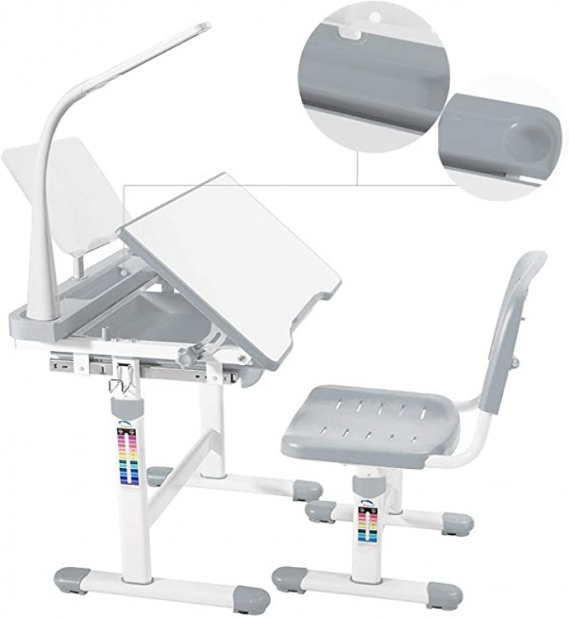 ihocon: mecor Height Adjustable Children Desk and Chair Set w/Lamp Pull Out Drawer Storage,Pencil Case,Bookstand 可調高度兒童桌椅, 含桌燈