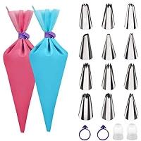 ihocon: TEQIFU Piping Bags and Tips Sets 可重複使用矽膠擠花袋2個及擠花嘴12個