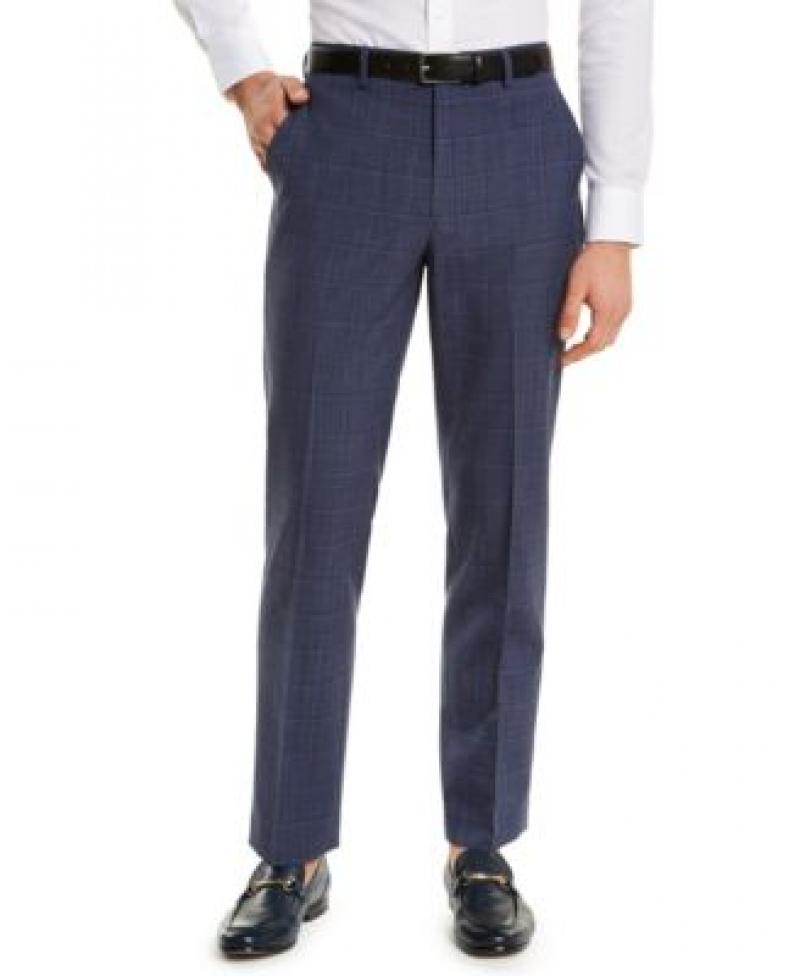 ihocon: Lauren Ralph Lauren Men's Classic-Fit UltraFlex Navy Windowpane Suit Separate Pants 男士長褲