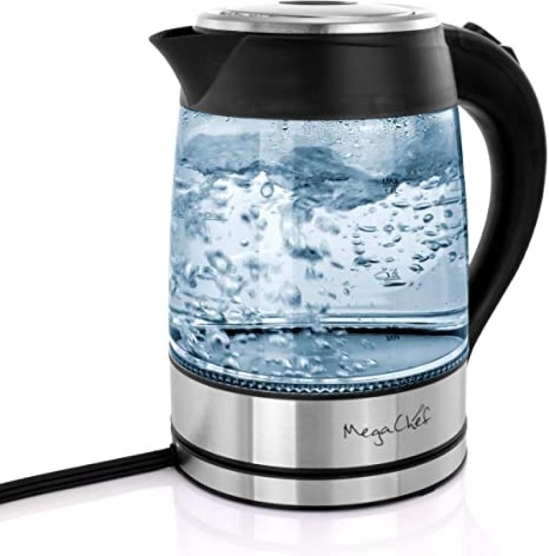 ihocon: MegaChef Stainless Steel Light Up Wired Tea Kettle, 1.8L玻璃電熱水瓶