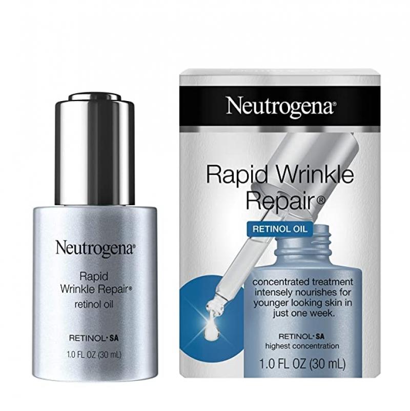 ihocon: Neutrogena Rapid Wrinkle Repair Anti-Wrinkle Retinol Face Serum Oil, Lightweight 1 Fl Oz 露得清快速皺紋修復精華