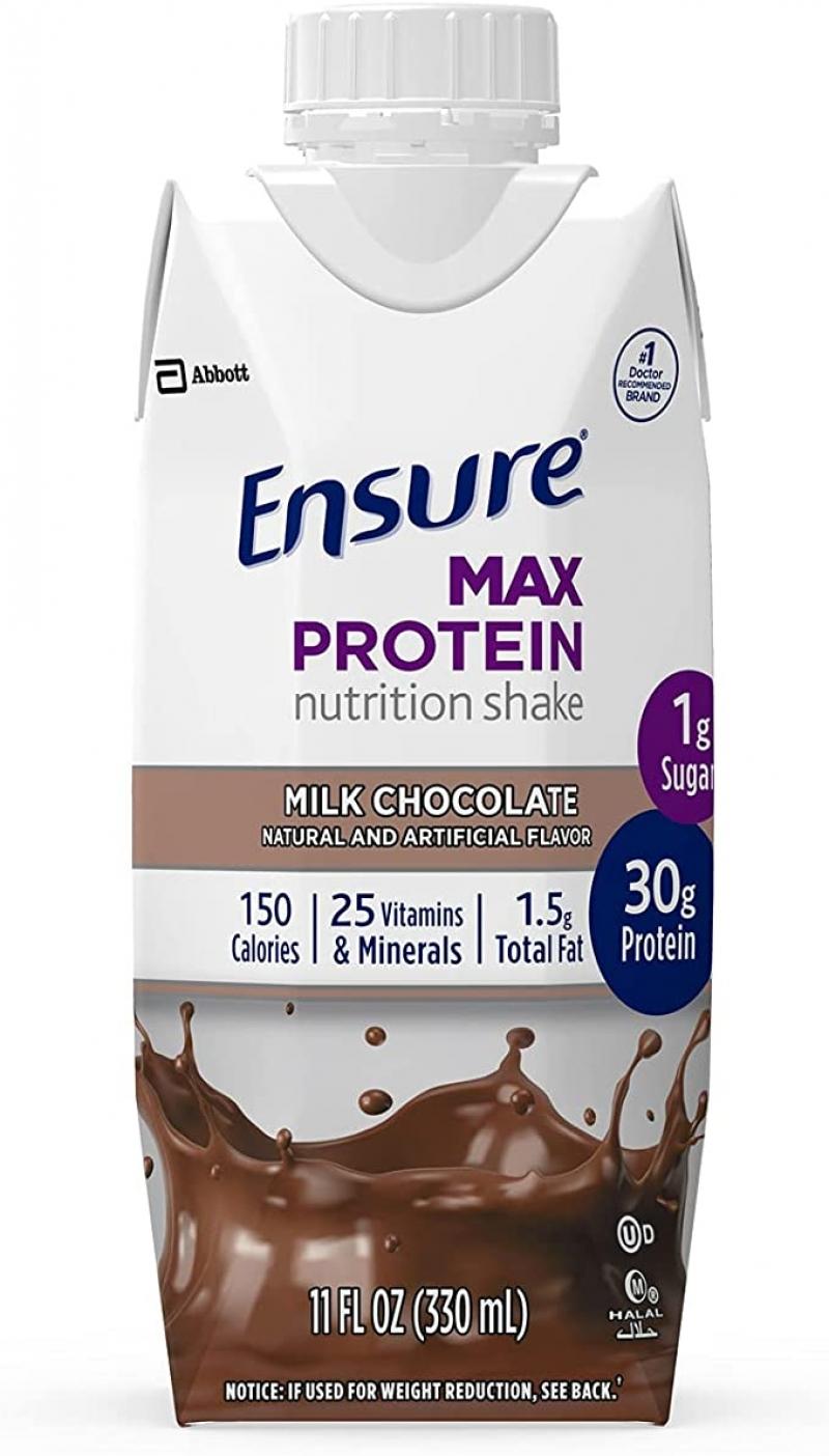 ihocon: Ensure Max Protein Nutrition Shake with 30g of Protein, 1g of Sugar, High Protein Shake, Milk Chocolate, 11 Fl Oz, 12 Count 蛋白質營養奶昔