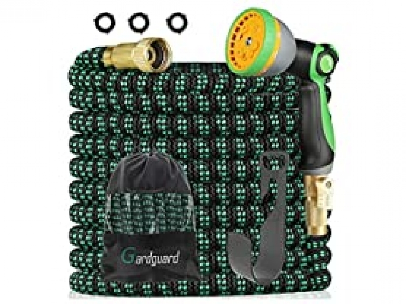 ihocon: Gardguard Expandable Garden Hose with 10 Function High Pressure Nozzle, Your Choice: 50FT or 100FT  伸縮澆花水管, 含噴水頭