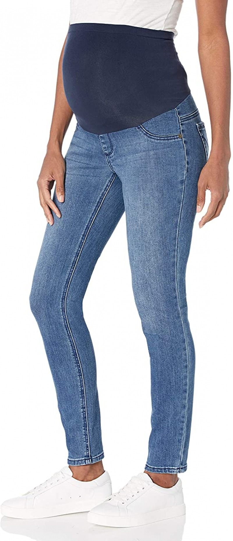 ihocon: Motherhood Maternity Women's Maternity Indigo Blue Super Stretch Secret Fit Belly Skinny Denim Jean 孕產牛仔褲