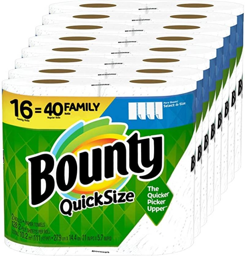 ihocon: Bounty Quick-Size Paper Towels, 16 Family Rolls = 40 Regular Rolls 廚房紙巾(16捲等於40捲的份量)