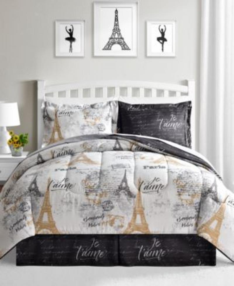 ihocon: Fairfield Square Collection Paris Gold 8-Pc. Reversible Comforter Sets 雙面被子床單枕頭套組-各種尺寸, 由Twin 至 King都是相同價格