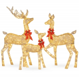ihocon: Best Choice Products 3-Piece Lighted Christmas Deer Set Outdoor Decor with LED Lights 聖誕裝飾