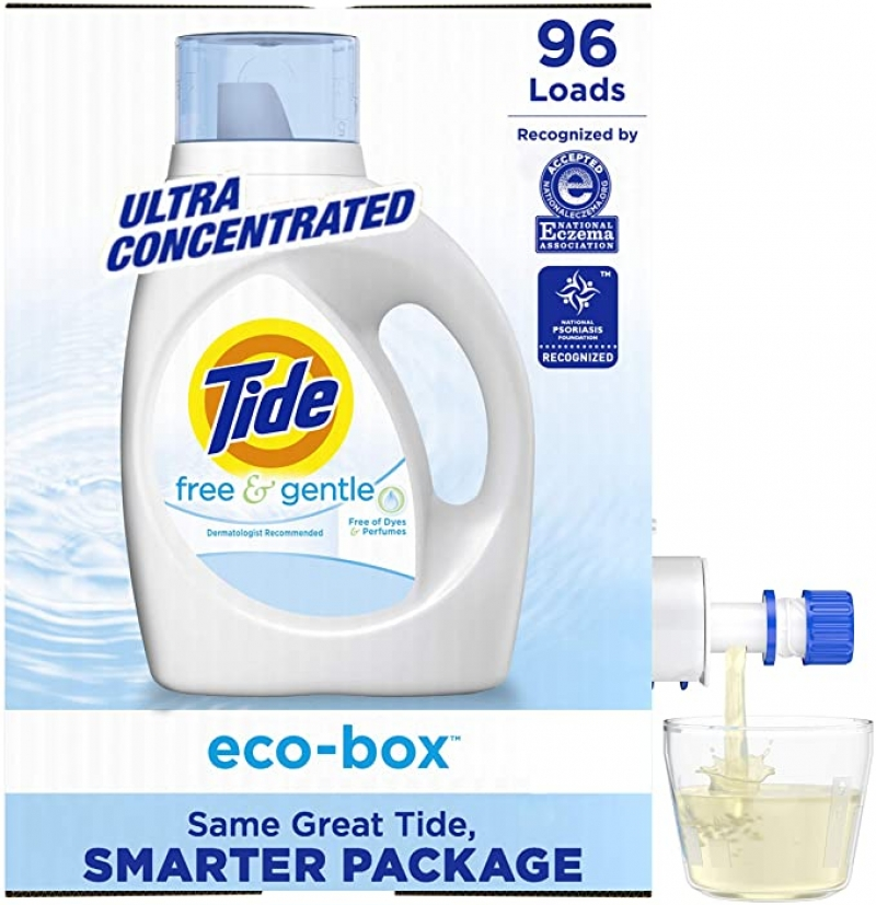 ihocon: Tide Free and Gentle Eco-Box Liquid Laundry Detergent Soap, Ultra Concentrated HE, 96 Loads 超濃縮洗衣精