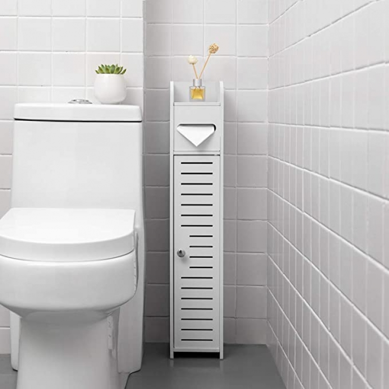 ihocon: TuoxinEM Standing Toilet Paper Holder Narrow Storage Cabinet  浴室儲物櫃(衛生紙架)