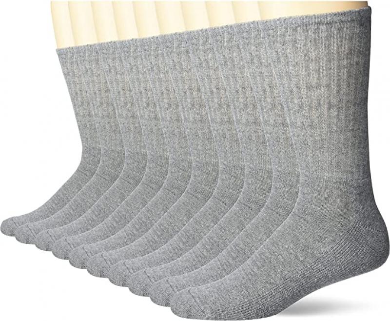 ihocon: Amazon Essentials Men's 10-Pack Cotton Half Cushioned Crew Socks 男襪 10雙
