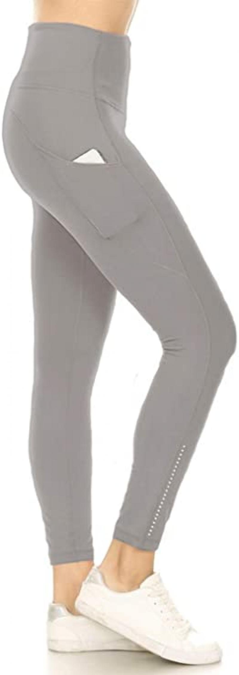 ihocon: Leggings Depot High Waisted 7/8 Leggings Athletic Yoga Pants with Side Pockets   女士高腰緊身褲
