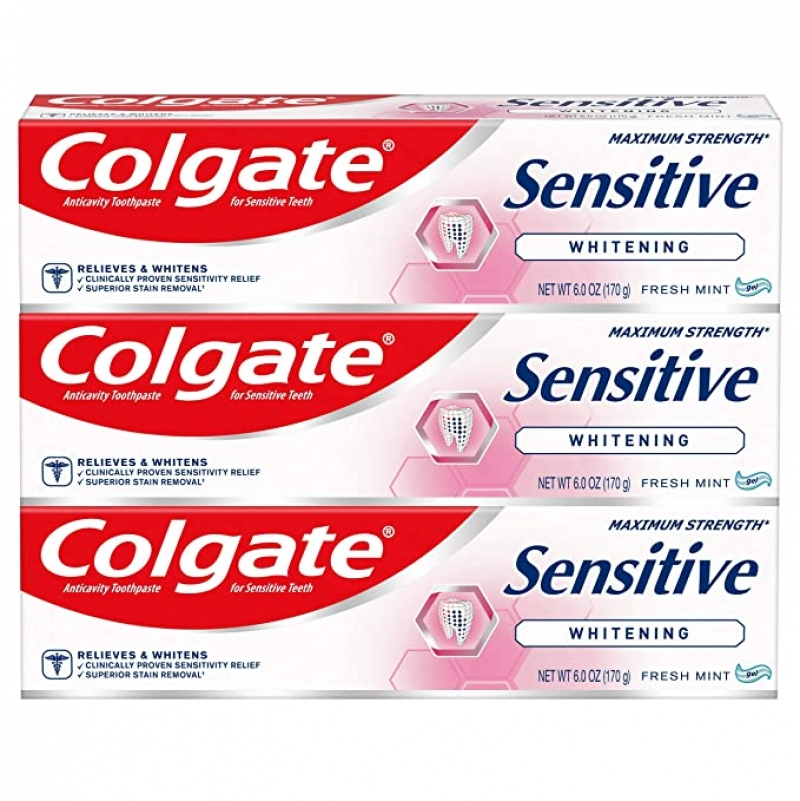 ihocon: Colgate Whitening Toothpaste for Sensitive Teeth, Enamel Repair and Cavity Protection, Fresh Mint Gel, 6 Oz, Pack of 3 高露潔敏感齒美白牙膏