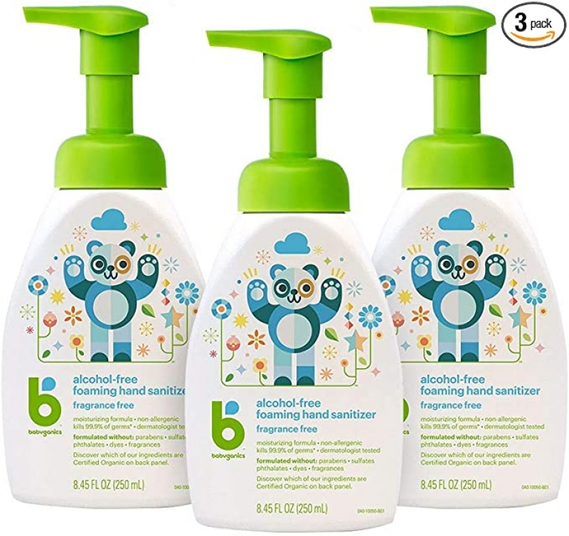 ihocon: Babyganics Foaming Pump Hand Sanitizer, Alcohol Free, Unscented, Kills 99.9% of Germs, 8.45oz- Babyganics Pack of 3 泡沫式無酒精手部消毒劑