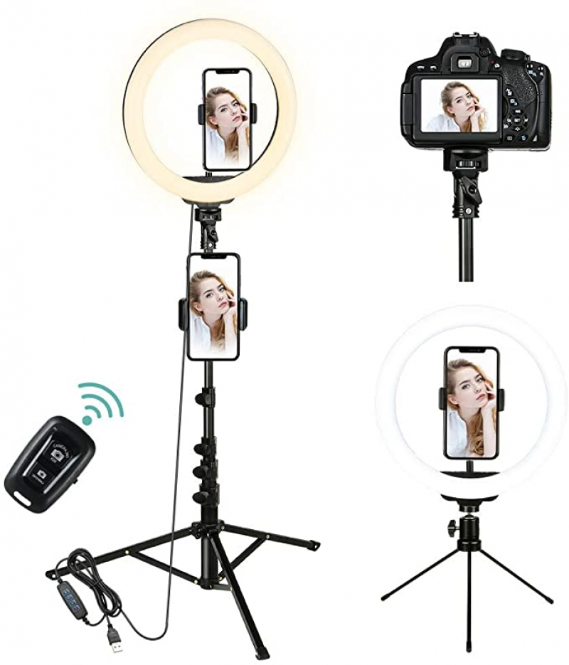 ihocon: infankey 10 Selfie Ring Light with 3 Color Modes, 63 Extendable Tripod Stand 自拍環形燈/手機架(含2個腳架)