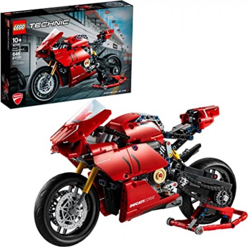 ihocon: 樂高積木 LEGO Technic Ducati Panigale V4 R 42107 Motorcycle Toy Building Kit (646 Pieces)模型摩托車