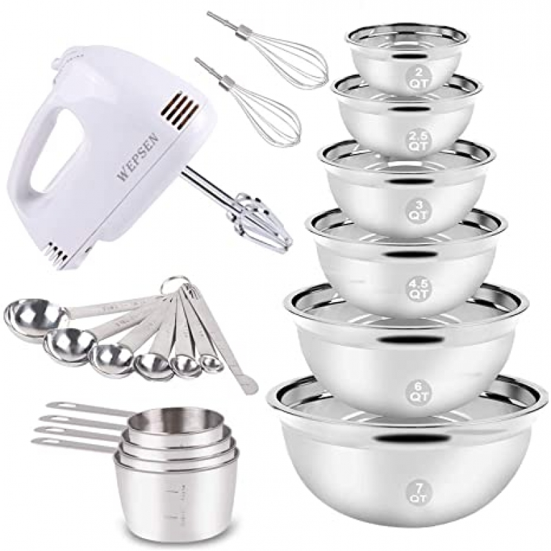 ihocon: Electric Hand Mixer Mixing Bowls Set 手動攪拌機+不銹鋼攪拌碗+量杯和勺子