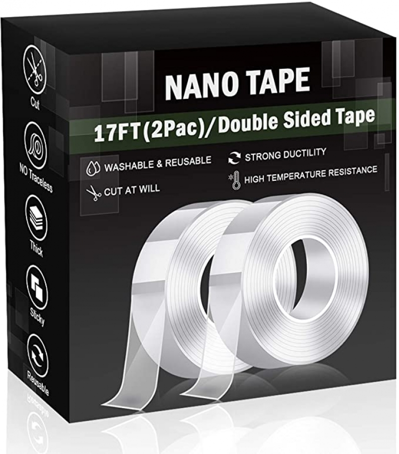 ihocon: [可重覆使用] Nano Tape,Double Sided Tape for Walls(Total 34FT)  多用途透明強力雙面膠帶 17呎 2捲