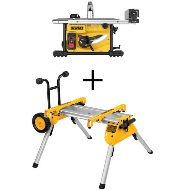 ihocon: DEWALT 15 Amp Corded 8-1/4 in. Compact Jobsite Tablesaw with Bonus Heavy-Duty Rolling Table Saw Stand 台鋸及台鋸架