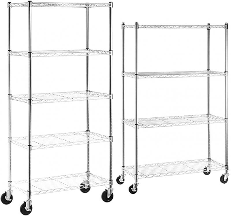 ihocon: AmazonBasics 5-Shelf Shelving Storage Unit 有輪金屬置物架2個(五層及四層各一)