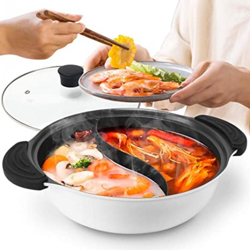 ihocon: Guequitlex 10.7 Hot Pot with Divider Non-Stick Casserole Shabu Pot 含蓋不沾雙隔火鍋/鴛鴦鍋(可用於電磁爐)