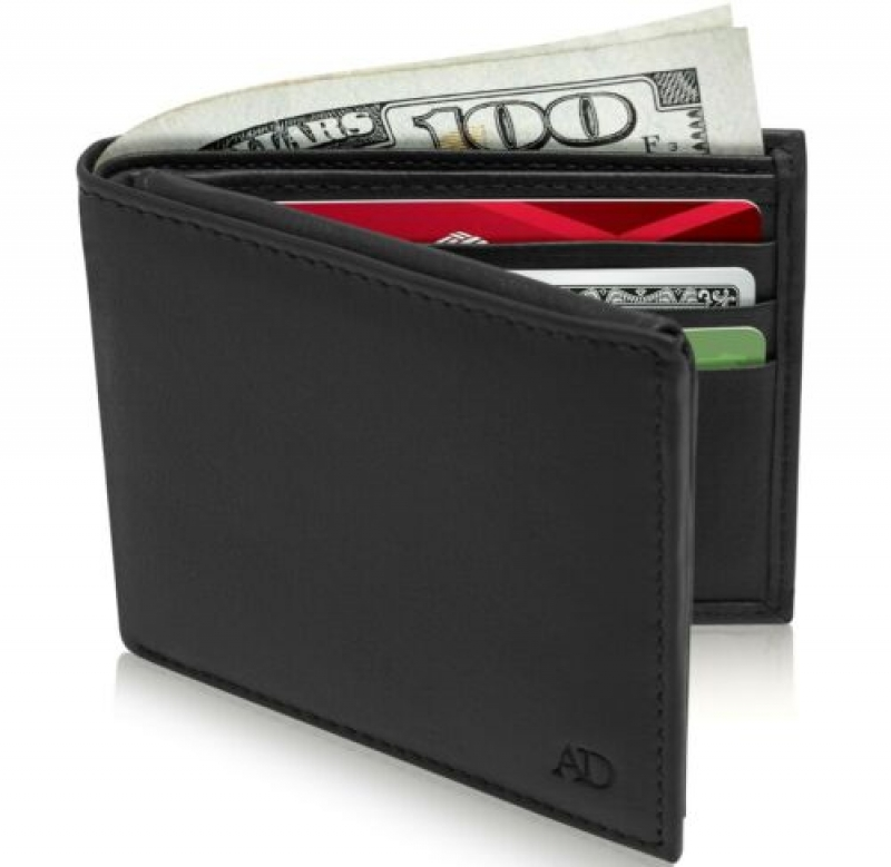 ihocon: Genuine Leather Bifold Mens Wallet With Flip-Up ID Window RFID Blocking 男士皮夾