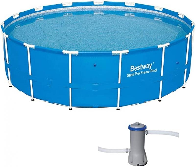 ihocon: Bestway 15ft x 48in Steel Pro Frame Above Ground Pool w/Cartridge Filter Pump 游泳池