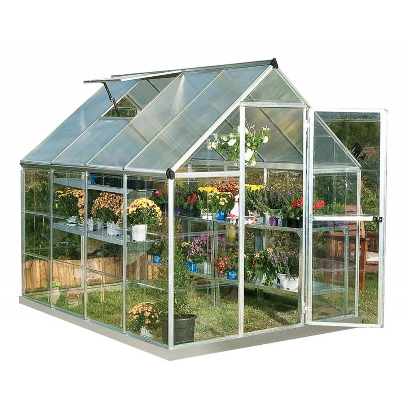 ihocon: Palram Hybrid 6' x 8' - Silver - Polycarbonate Walk-In Greenhouse 溫室