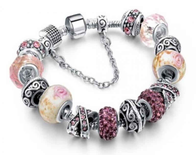 ihocon: Yeidid Women's Pink Glass Charm Bracelet Made With Swarovski Elements  女士手鍊(鑲Swarovski施華洛世奇水晶)-多色可選