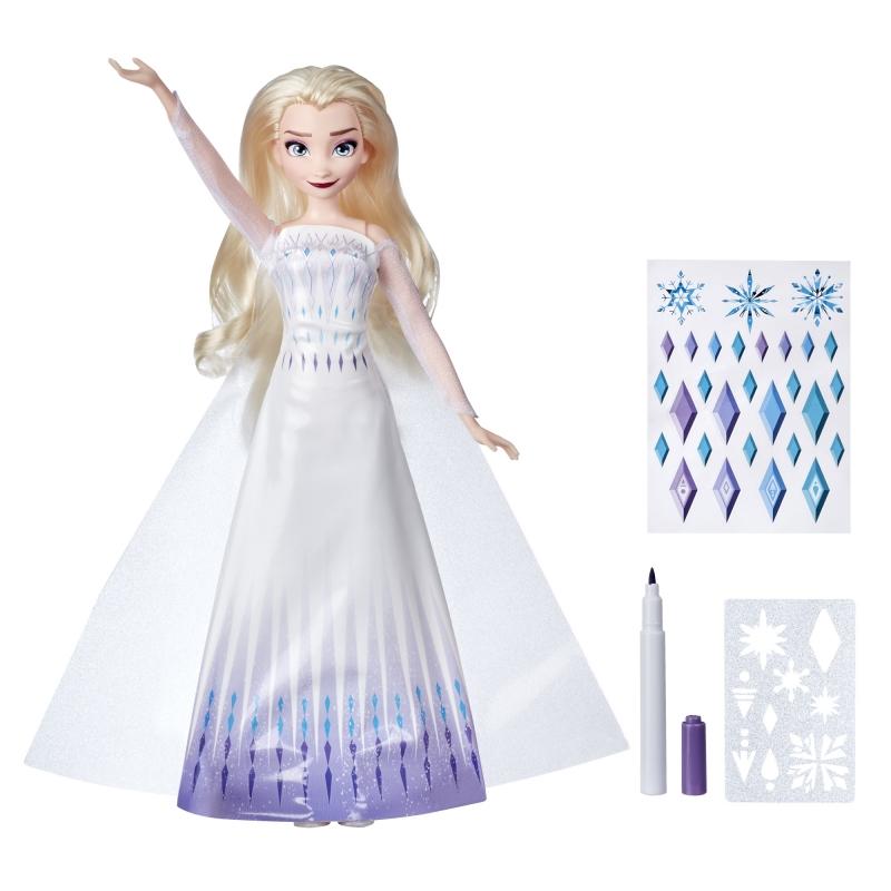 ihocon: DIsney's Frozen 2 Design-a-Dress Elsa Doll with Stickers, Marker, and Stencil 迪士尼冰雪奇緣娃娃及服裝設計配件