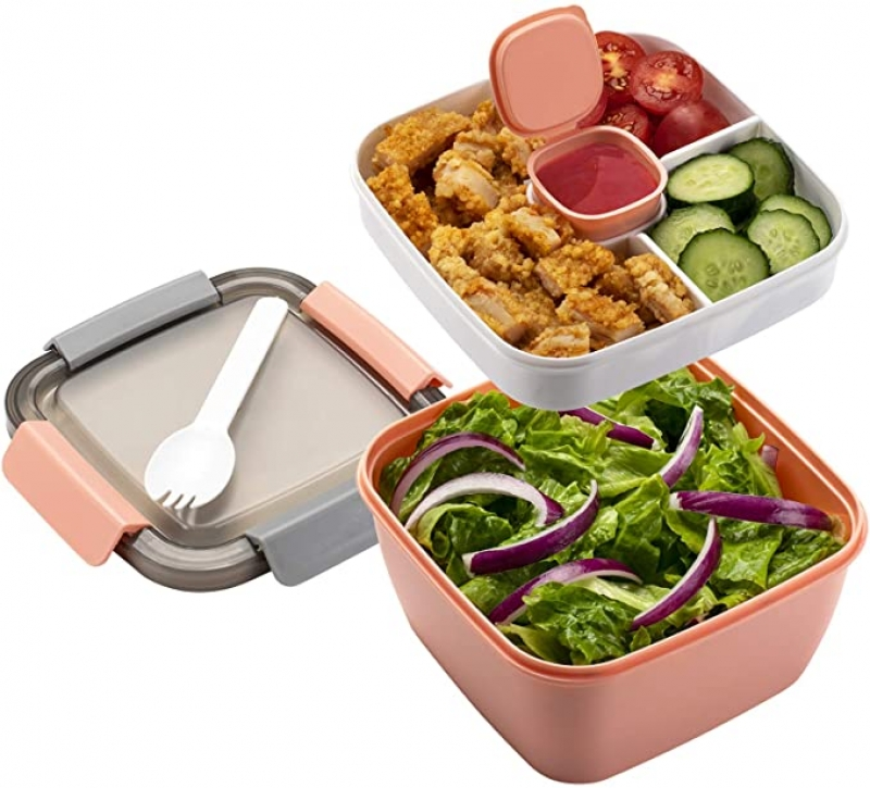 ihocon: Freshmage Salad Lunch Container To Go, 52-oz Salad Bowls with 3 Compartments, Salad Dressings Container 便當盒